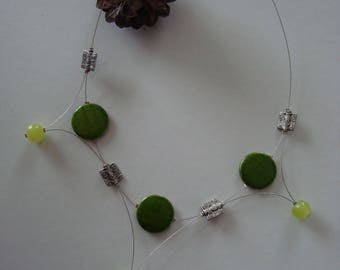 Original necklace in shades of green and silver