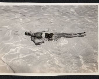 Vintage Snapshot Photo Woman Floating in Water 1930's, Original Found Photo, Vernacular Photography
