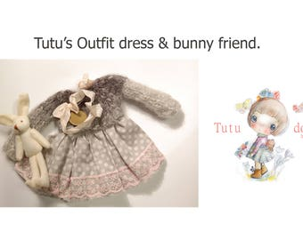 Tutu's dress,handmade,handknitted,wool with cotton & a sweet bunny.