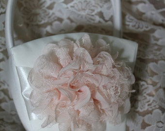Cream or White Satin Flower Girl Basket Ivory/Blush Tint Chiffon Layered Flower  with Lace