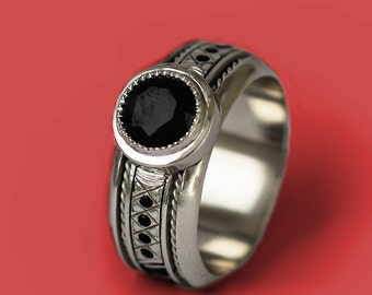 unique engagement ring for men, Black Engagement Ring,promise ring, Mens Black Ring, black spinel, enamel black ring,Steampunk Ring,
