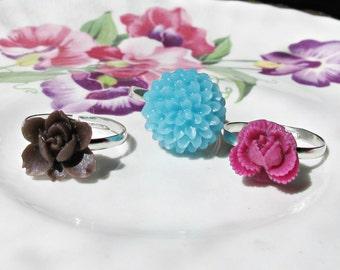 Girls Rings Adjustable - Floral Botanical Blue Brown Pink - Party Favour Gift Set