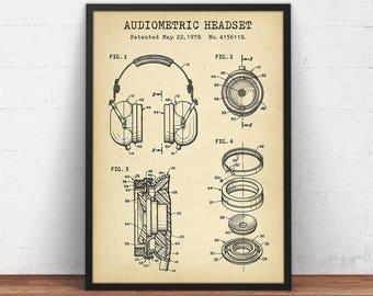 Headphone Patent Artwork, Audio Headset Blueprint, Headphones Poster Printable, Home Theater Decor Music Wall Art, Music Gifts Patent Prints