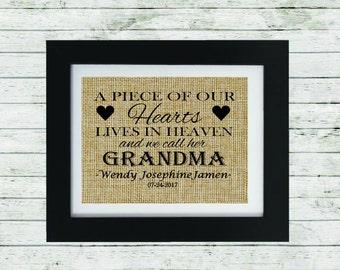 Burlap Memorial Print - Loss of a Grandparent - Memorial Gift - Condolence Gift - In Memory of Grandmother - Personalized Memorial Gift