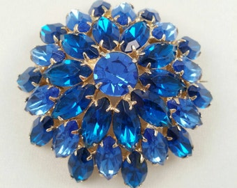 Vintage Blue Rhinestone Brooch Domed Construction Vintage Fifties Costume Jewelry Wedding Jewelry Something Old and Blue