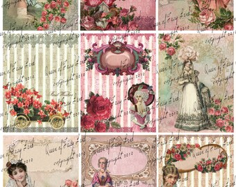 Digital Collage Sheet, Victorian Lady's, cards, tags, Scrapbooking, Vintage Printable, Digital Paper, Marie Antoinette, mixed media, #51