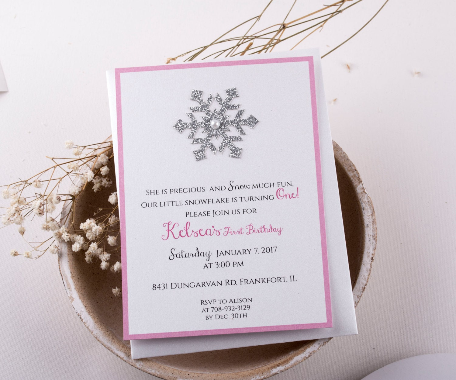First Birthday Invitation Girl Pink and Silver Winter
