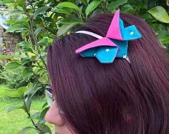 Serre-tête papillon origami Bleu et Rose