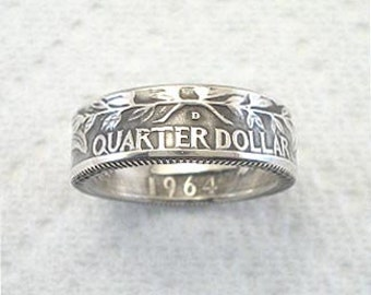 Sizes 4 1/2 - 7. Coin Ring. Washington Silver Quarter. Reversed. Crevice Toned.  Place Your Custom Order Here.