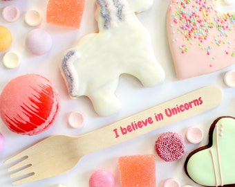 I Belive In Unicorns Wooden Forks Wooden Spoon for Parties  Unicorn Theme