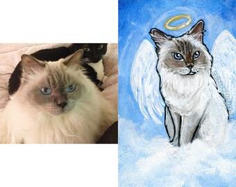 Custom Portrait, Pet Painting, ACEO Original, Personalized Gift, Pet Memorial, Wedding Gift, Angel Wings, Animal Lover, Cat Lover, Dog Art