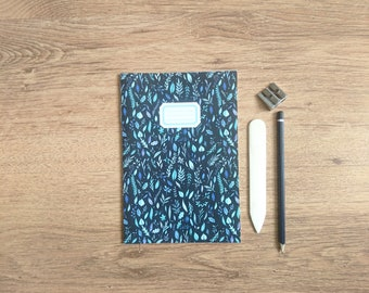 Navy Leaves || A5 Hand Stitched Lined Notebook
