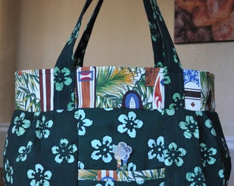 Batik Flowers and Hawaiian Surfboards bag  - OOAK