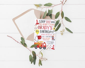 Printable Stop, Drop & Roll Firetruck Kids Birthday Invitation