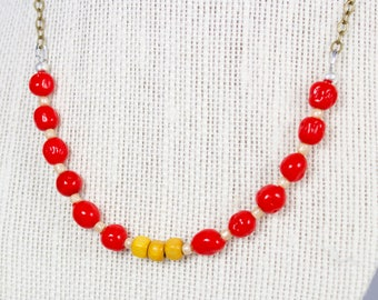 Red Necklace - Mother's Day Necklace - Colorblock Necklace - Best Friend Gift Idea - Colorful Necklace - Unique Necklaces for Women