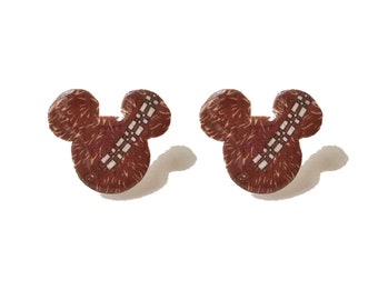 """Season Of The Force Collection """"Chewy Mouse"""" Chewbacca Inspired Mouse Shaped Star Wars Inspired Earrings"""