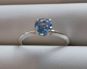 Aquamarine Silver ring 6mm