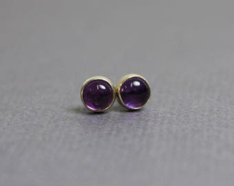 Amethyst Stud Earrings, Purple Stud Earrings, Small 4mm Amethyst Earrings, Amethyst Post Earrings, Amethyst Jewelry, Kathy Bankston