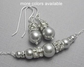 Light Gray Jewelry, Gray Wedding Jewelry, Choker Necklace, Pearl Choker Necklace, Bridal Party Gift, Wedding Jewelry Set, Bridesmaid Gift