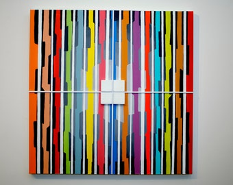 Kaleidoscope 2 - original contemporary mixed media painting of wood and acrylic on canvas
