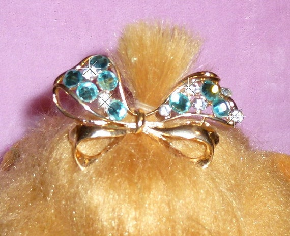 Puppy Bows ~ Double loop wavy bow red, crystal or blue rhinestones dog bow  pet hair clip topknot barrette (rh1)