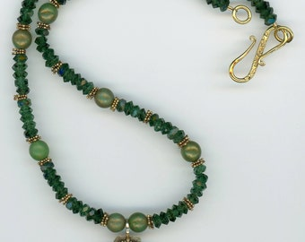 Emerald Crystal Necklace, Crystal Necklace, Valentine Gift, Emerald Crystal Jewelry, All That Sparkles, Granulated Vermeil, Gold Vermeil