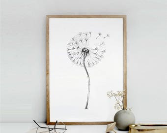 Printable dandelion flower, Dandelion Wall Art flower wall decor, Botanical Print, Printable Art minimalist painting instant download poster