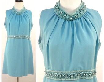 Blue Mini Dress - Light Baby Blue Beaded Collar & Empire Waist w Ribbon Trim - Vintage 60s Short Sleeveless Spring Formal Prom Evening Dress
