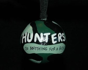 Hunter Ornament - Hand Painted - Personalized - Solid Wood