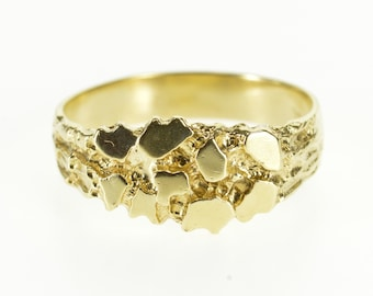 10k Textured Nugget Abstract Cluster Statement Ring Gold
