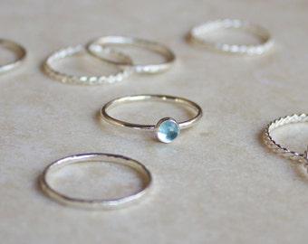 Ready to Wear Blue Topaz Stacking Ring 4mm, Silver Ring, Blue Topaz Ring, Engagement Ring, November Birthstone