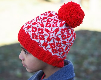 Hemsedal Child's Nordic Hat Red and Natural with Pompom