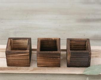 Square wood box - Centerpiece/Rustic/Wooden Vase/DIY Wedding Decor/Flower Pot
