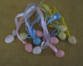 """24 small 1"""" Easter speckled egg ornaments on ribbon hangers"""