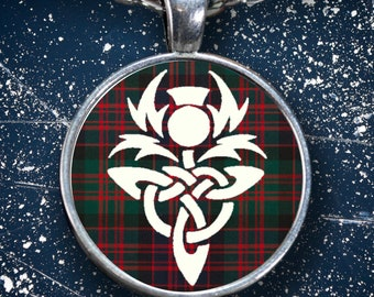 MacDonald Tartan Thistle Pendant - Scottish Clan Jewelry Gifts - Celtic Jewelry