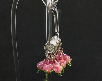 Set of 6 Rose Pink glass flower bead Stitch Markers for Knitting