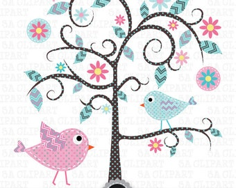"""Tree Clipart """"WEDDING TREE"""" clip art,Tree,Love Tree,Save The Date,Birdcages,Love bird,perfect for Wedding invitation, Instant Download Pg007"""