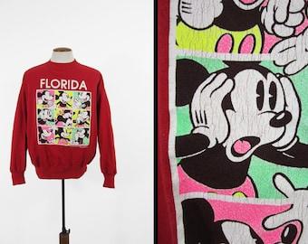 Vintage Mickey Mouse Squares Sweatshirt Florida Brady Bunch Raglan Velva Sheen - Medium