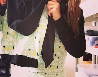 Hoodie for women, mint green and black triangles
