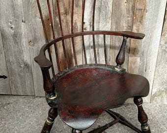 Windsor High Back Chair Comb Back Armchair Replica 1970 Solid