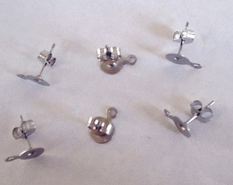 100 (50 pairs) Stainless Steel 6mm Earring Posts with Loop and Backs