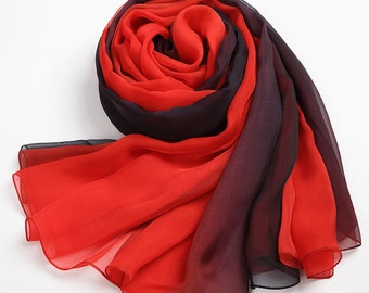 Black and Red Gradient Coloured Silk Chiffon Scarf - Black and Red Silk Scarf - AS39