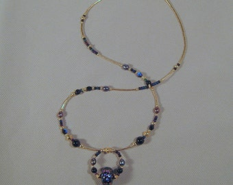 Gold-filled Dichroic Glass, Freshwater Pearls and Onyx Necklace