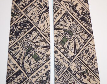 Legends Of Zelda Inspired Comic Block Pattern Adult Necktie in Tan and Black