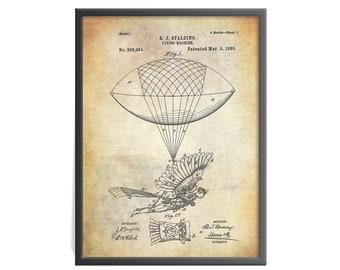 Spalding Flying Machine Patent Art Print - Vintage Aircraft Patent Art Print - Flight History Patent Print