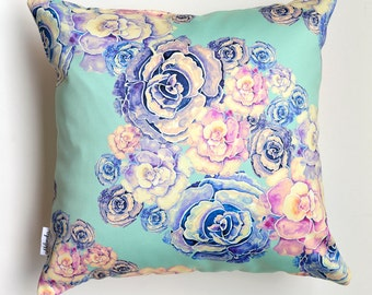 SALE Green Peony pillowcase by original design, flower satin pillow cover, ivory, pink, violet, mint, 18x18'(45x45 cm), 20x20' (50x50 cm)