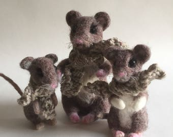 Needle Felted Family of Mice Mouse cute
