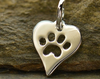 Sterling Silver Dog Paw Charm Cat Paw Pendant Necklace Heart Paw Print Animal Lover Charm Necklace Jewellery UK Seller Vet Gift 1161