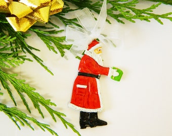 Christmas Tree Decorations - Santa Claus with Presents - Flat Pewter Miniature - Hand Painted on both sides - ED1904A
