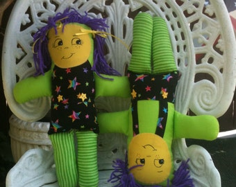 Imagination Dolls with Yellow Faces, Zany Soft Dolls, Rag Doll Boy and Girl Twins